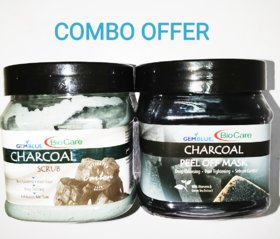 BIO CARE COMBO OFFER CHARCOAL PEEL OFF MASK AND CHARCOAL SCRUB 500GM EACH