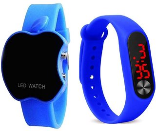Cut Apple Blue With  M2 Blue Led Combo Pack of 2 Digital Watch For Girls And Boys