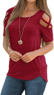 Rosella Maroon Plain Round Neck Cold shoulder Top For Women