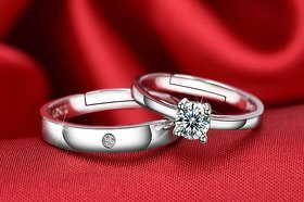 Couple Rings Silver Plated Stylish Trendy White Sparking stones designer adjustable Ring Valentines Annyversary Gift