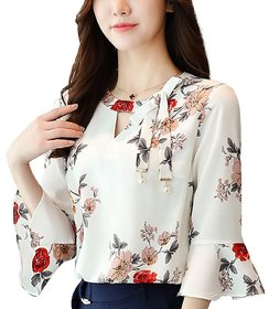 Rosella White Floral Print Keyhole Neck Tank Tops For Women