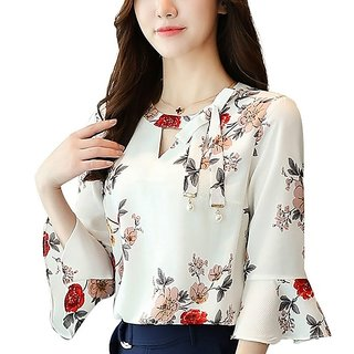 Neoen White Keyhole Neck With Flower Print Top