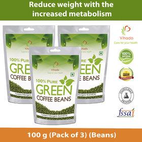 Vihado Pure Arabica Green Coffee Beans - 100g Pack Of 3