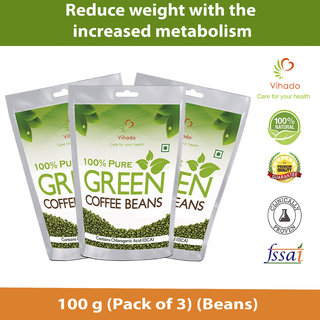 Vihado Organic Green Coffee Beans For Weight Loss - 100g Pack Of 3