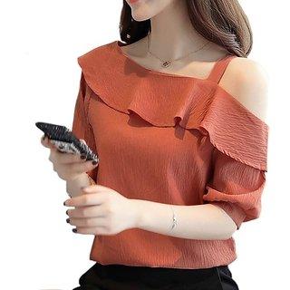 Rosella Pastel Orange Round NeckCold ShoulderTop
