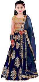 Femisha Creation Navy Blue Heavy Embroidered Work Kids Girls Wedding Wear Semi Stitched Lehenga Choli .