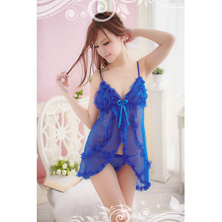 Womens Baby Doll Nightwear Lingerie Set Free Size