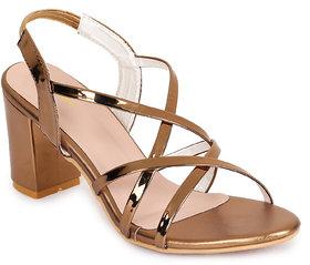 Funku Fashion Women Ankle Strap Copper Block Heel