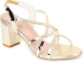 Funku Fashion Women Ankle Strap Golden Block Heel