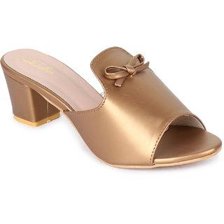 Funku Fashion Women Slip On Copper Block Heel