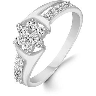 VIRINA Center Star Diamond Studded Rhodium Plated Alloy & Brass Cz American Diamond Finger Ring for Women & Girls