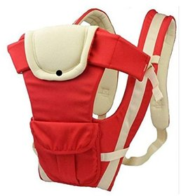 1 Pc Adjustable Hands-Free 4-in-1 Baby Carrier with Comfortable Head Support  Buckle Straps - Color Red