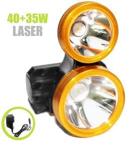 Rock Light Rechargeable Powerfull Duel Light 40Watt+35Watt Ultra Bright Metal Plus PVC LED Light Headlamp