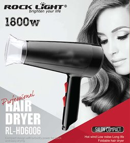 Rock Light 1800W Salon Grade Professional Hair Dryer  (Black)