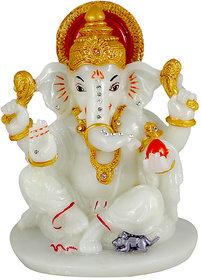 Kartik Lord Ganesha Radium Idol God Ganpati/Ganesh Handicraft Statue Spiritual Puja Vastu Pooja Gift Item (White)