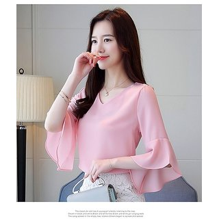 Neoen Peach V-Neck With Bell Sleeve Top
