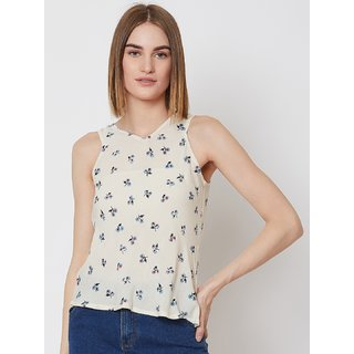 NUN Fashion Women V-Neck Sleeveless Printed Cream Top