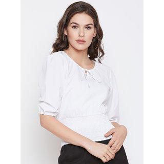 NUN Fashion Women Round Neck Puff Sleeves Checked White Top