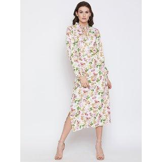 NUN Fashion Women Mandarin Collar Regular Sleeves Floral print Off White A-Line Midi Dress