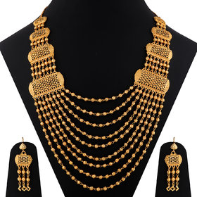 SILVER SHINE Gold Plated Adjustable Traditional Jewellery Long Multi Layer Set For women girl