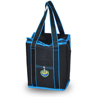 Sanchi Creation Men/Women Black Lunch/Tiffin/Container/Meal Tote Bag for School Office Picnic Outdoor (Large,11.5)