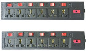 Combo 2PCS of 6+6 Socket Extension Board 6 Amp 3 Meter Cable Three Pin Plug Fuse Led Indicator