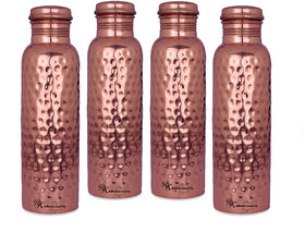 Rk Handicrafts 100 Pure Copper Hammered Copper Water Bottle (Pack Of 4, Copper)