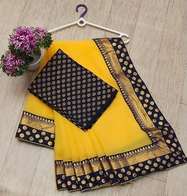 Indian Style Party Wear Chanderi Cotton Jequard Lace Work Saree With Blouse