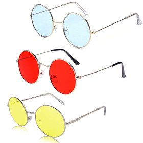 Ivonne Round Unisex Uv Protected Sunglasses Pack Of 3 Blue Red Yellow