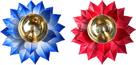 Decorate India Brass Kamal Ptta Blue and red color Akhand diya size 6 inch  pack of 2