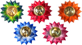Decorate India Brass Kamal Ptta multiple color Akhand diya size 6 inch  pack of 5