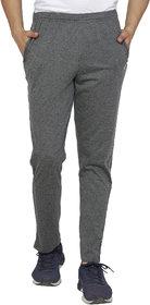 SHELLOCKS Cotton Hosiery Black Melange Track Pants for Men with Back Pocket