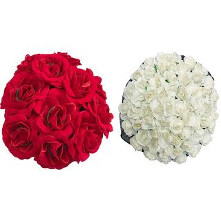 Arooman Full Juda Bun Hair Flower Gajra Combo for Wedding and Parties (Red&White) Color Pack of 2