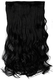 Arooman Clips Based Curly And Wavy Synthetic Fibre Hair Extension, Natural Black, 26-Inch