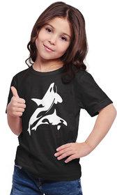 Haoser Printed  Black Tshirt for Girls, Half Sleeve Round Neck Regular Fit Kids Cotton Tshirt for Girls