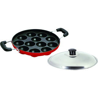 Non-Stick Cookware 12 Cavities Appam Patra With Handle And S. S. Lid