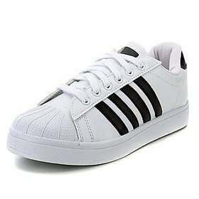 Liboni Men's White Synthetic Leather Casual Shoes