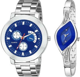 Katrodiya Quartz Beloved Blue Couple Watches Combo