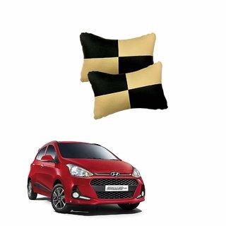 Black  Beige Leatherite Car Pillow Cushion for Hyundai Grand I10 (Set of 2)