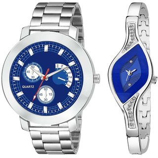 New Stylish Beloved  Blue Couple Watches for Men and Women Watch - For Couple