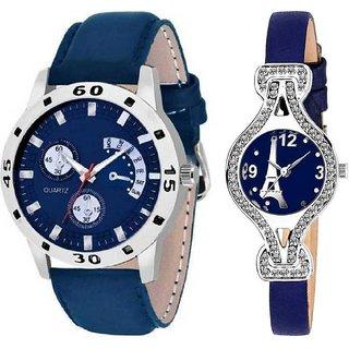 Men Women Couple Blue Analog Watch - For Couple