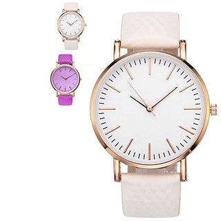 Pink Color Changing Watch Lather Belt Lether Strep Golden Case Women Watch Girl Watch Ladies Watch Purple White By EGLOB INDIA