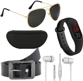 Kanny Devis Black UV Protected Aviator Men's Sunglass with Belt + Ear Phone + LED Band