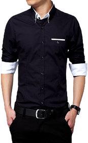Gladiator Products Trendy Plain Black Shirt Diifferent Collar