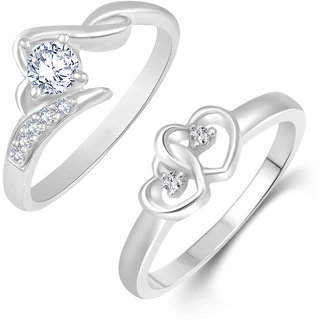 Netra Jewels Double heart Solitaire Combo Ring for Women and Girls