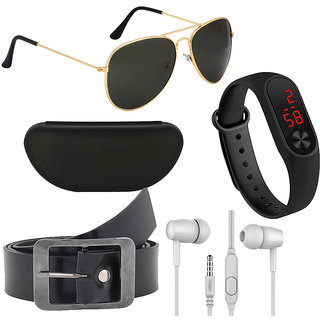 Kanny Devis Black UV Protected Aviator Men's Sunglass with Belt + Ear Phone + LED Band