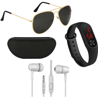 Kanny Devis Black UV Protected Aviator Men's Sunglass with Ear Phone + LED Band