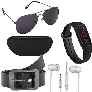 Kanny Devis Black Aviator Sunglasses with Free+ Belt + Ear Phone + LED Band