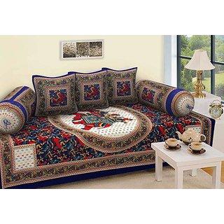 RAFZ Set of 6 Pcs Multi Color Cotton Diwan Set ( 1 Diwan Sheet , 2 Bolster Cover , 3 Cushion Cover )
