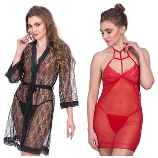 Rec Swaggy Women's Nighty Red Pack of 2